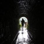 Person in mine tunnel